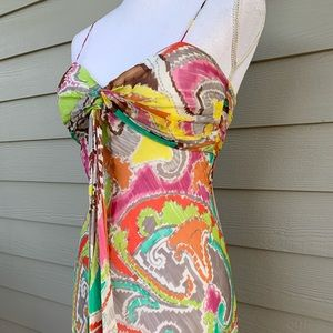 Milly Dresses - MILLY New York Silk Spaghetti Strap Colorful Dress